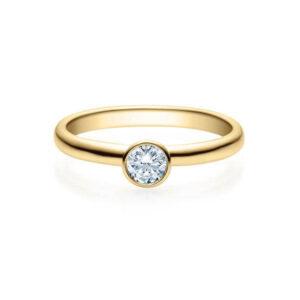 Verlobungsring Gelbgold 585/- zus. 0,200 ct, tw, si - RU-1493-35